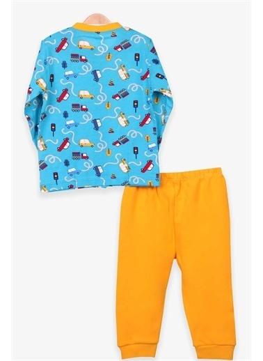 Breeze Erkek Bebek Pijama Takımı Araba Desenli Mavi  Mavi